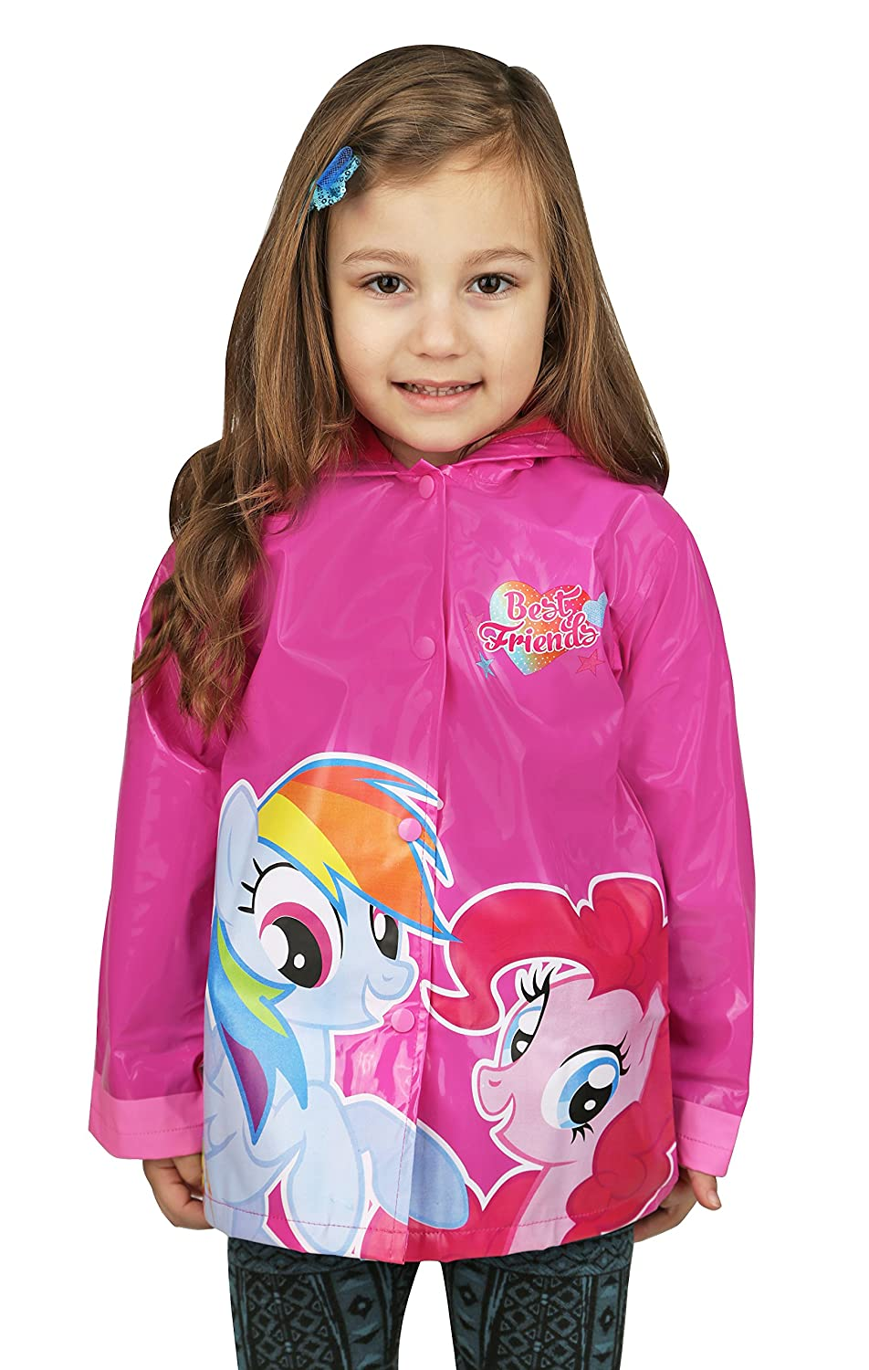 Hasbro Little Girls' My Little Pony Rainbow Waterproof Outwear Hooded Rain Coat - Toddler