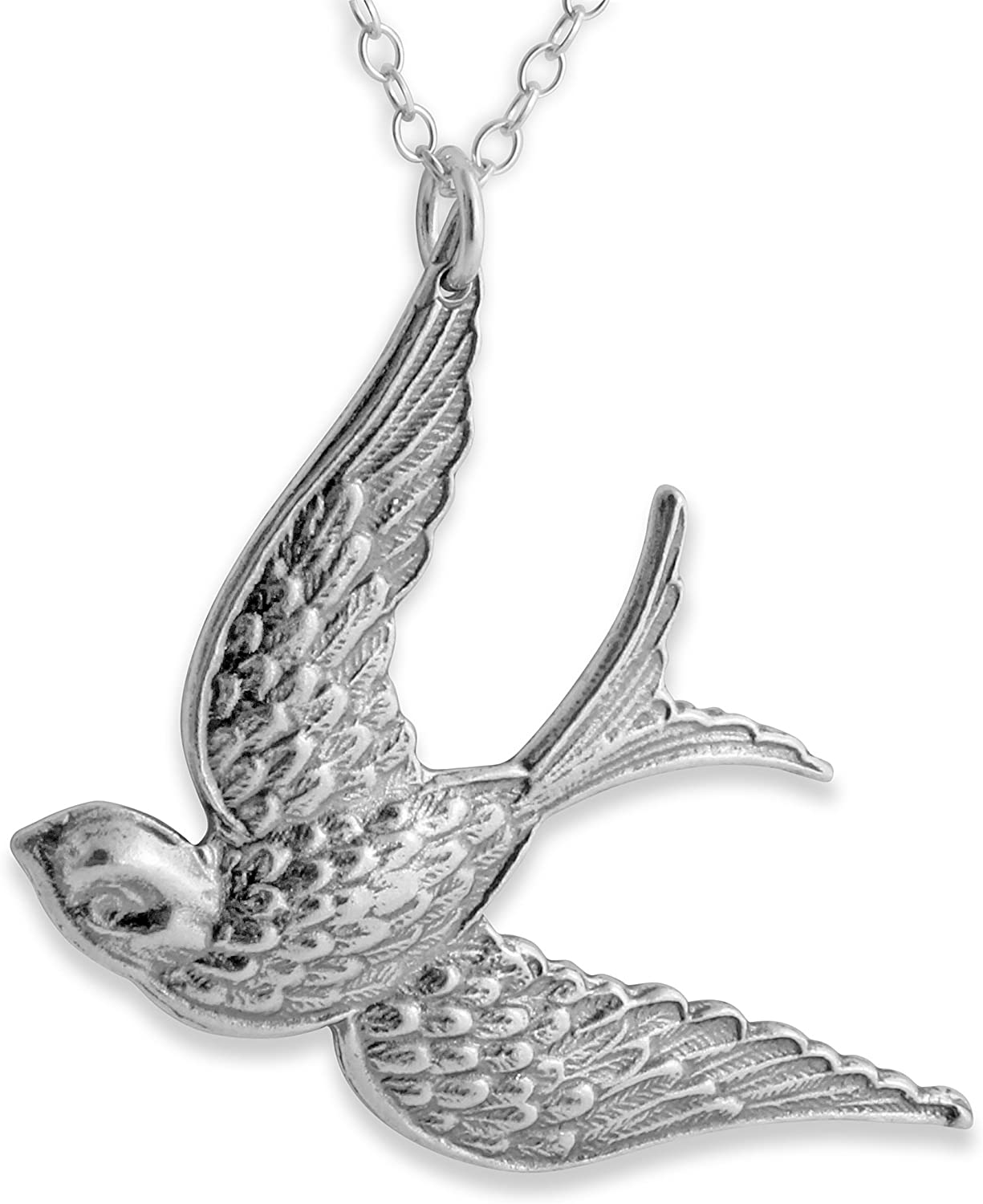 1 Vintage Large Silver Flying Bird Stamping Charm