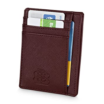 außergewöhnliche Farbpalette authentische Qualität heiß-verkaufende Mode Kreditkartenetui Herren Klein - 8 Kartenfächer - Kleines Portmonee -  Geldbörse RFID NFC Schutz - Karten Portemonnaie Männer - Smart Wallet Slim  Braun ...