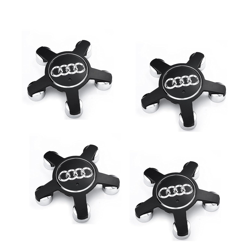 Meow Star Audi Set of Four Rim Caps in Aluminium, Black, 5 Radios, Logo, 134 mm, Audi, 4 F0601165 N, for Audi A4, A5, A6, S6, Q5, Q7, R8, RS4, RS6, TT, S Line