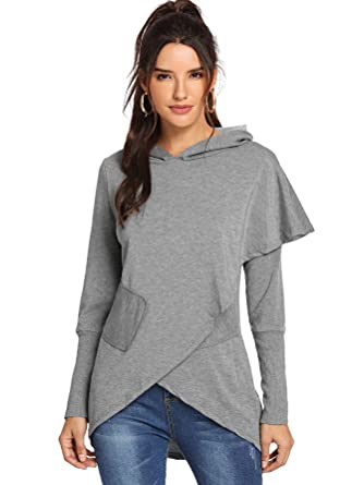 3d6e03fab2 SheIn Women's Long Sleeve Asymmetric Hem Warp Hoodie Pullover Sweatshirt  Tunic Tops Blouse at Amazon Women's Clothing store:
