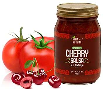Green Jay Gourmet Cherry Salsa - Cherry-Flavored Fruit Salsa - Medium Heat Picante Salsa
