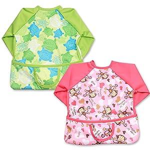 Luxja Baby Waterproof Sleeved Bib, Long Sleeve Bib for Toddler (6-24 Months), Green Tortoise + Cute Monkey