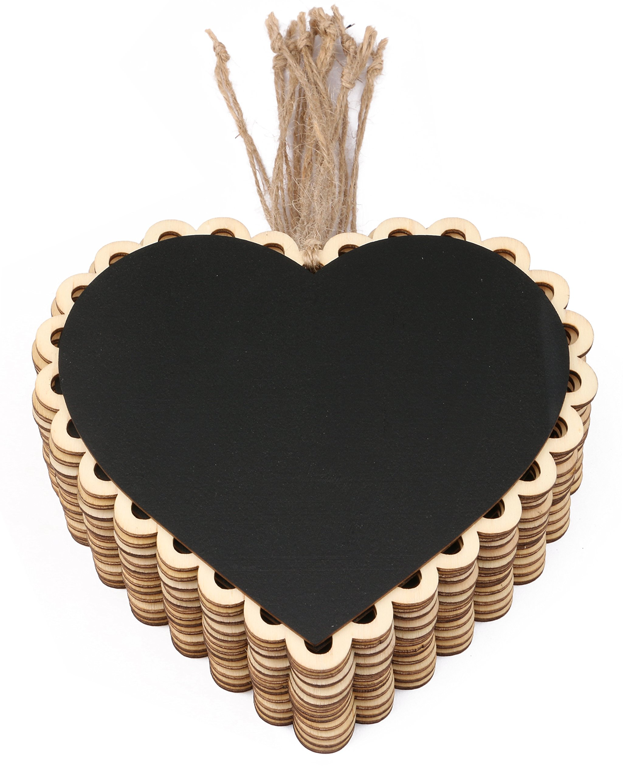 Dedoot 12pcs Hanging Chalkboard Signs Mini Chalkboard Signs with Decorative Boarder - Decorative Chalkboards Heart Message Board for Walls, Wedding, Parties, Kitchen Decoration