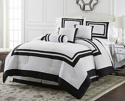 Amazon.com: FS Fahm Luxurious Black White Grey Border Comforter 7