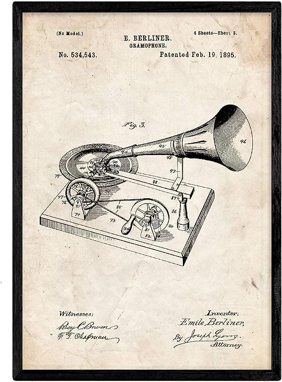Nacnic Poster con patente de Gramofono. Lámina con