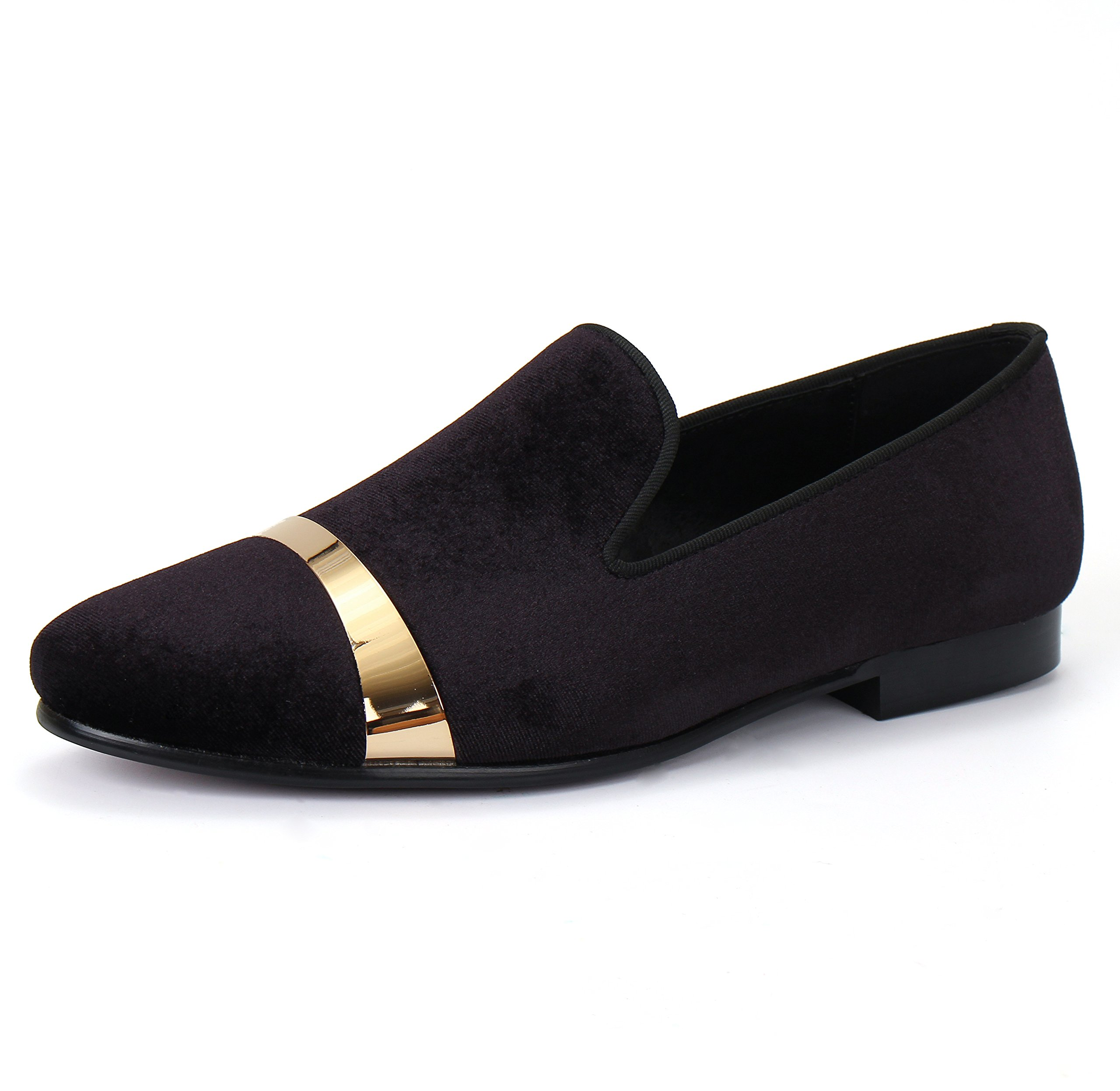 Men Velvet Loafers Handmade Flats Shoes with Gold Plate (14)