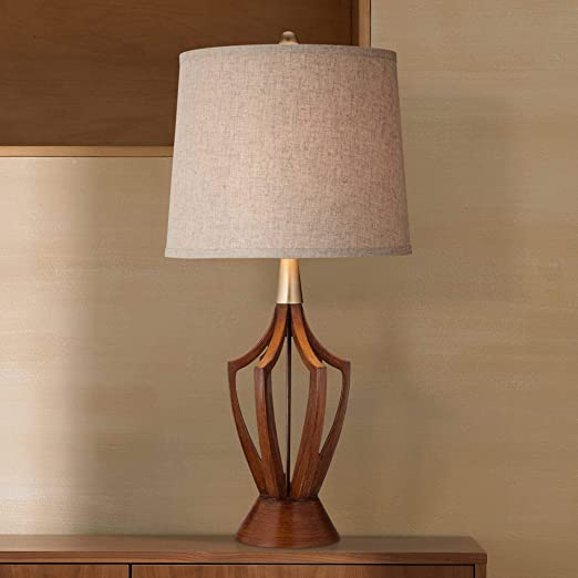 St  Claire Mid-Century Modern Table Lamp Wood Brass Open