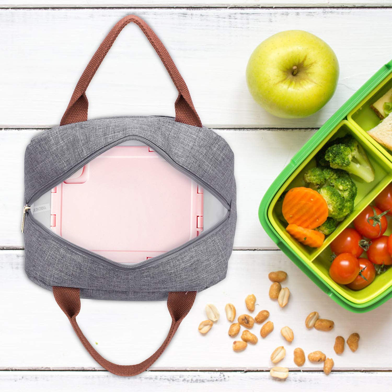 Lokass Bolsa T/érmica de Almuerzo Bolsa para Picnic Lonchera Bolsa de comida porta con Aislamiento Impermeable Gran Capacidad para Picnic//Escuela//Trabajo//Mujers//Ni/ños//Estudiantes-Gris