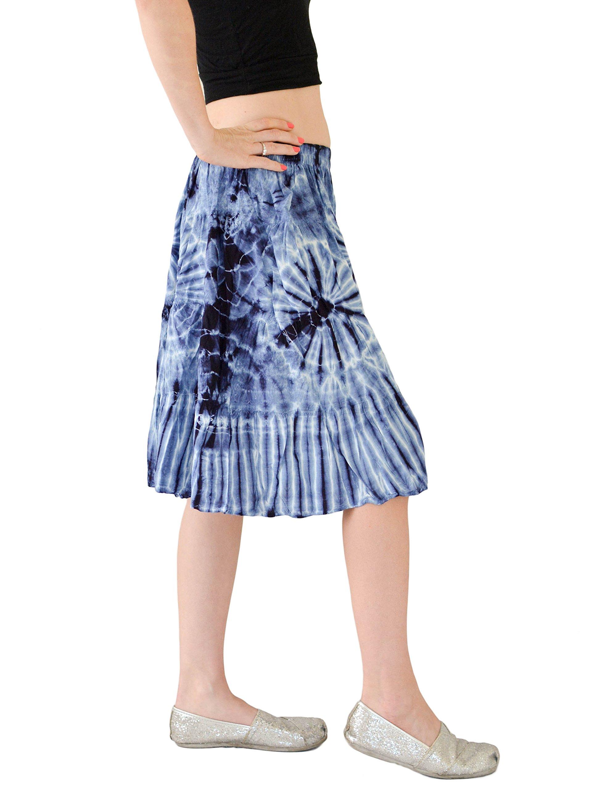Orient Trail Women's Hippie Bohemian Boho Tie Dye Knee Length Mini Skirt M/L Dark Shibori Blue by Orient Trail (Image #3)