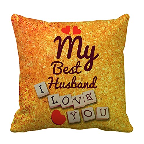 tied ribbons my best husband printed cushion 12 inch x 12 inch with filler