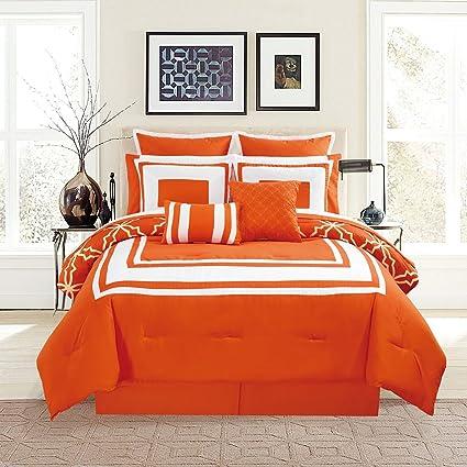 12 Piece Bernard Orange Comforter Set With Sheets Queen