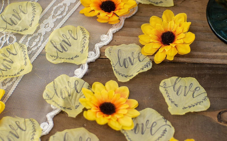 Sunflower Wedding, Sunflower Decorations for Bridal Shower Decor, Wedding Confetti, Yellow Rose Petals, Flower Girl, Wedding Table Decor
