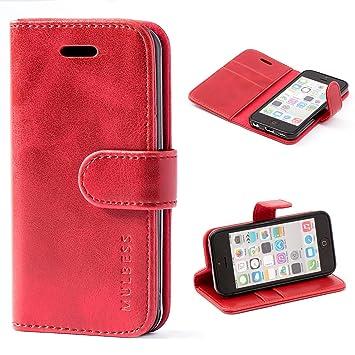 Funda Apple iPhone 5C, MULBESS Funda Piel PU, Soporte Plegable, Ranuras para Tarjetas y Billetes, Estilo Libro, Acceso a Botones, Cierre Magnético - ...