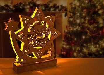 Led Lampen Weihnachtsdeko.Weihnachtsaufsteller Weihnachtsdeko Aus Holz Mit 7 Warm Weißen Led