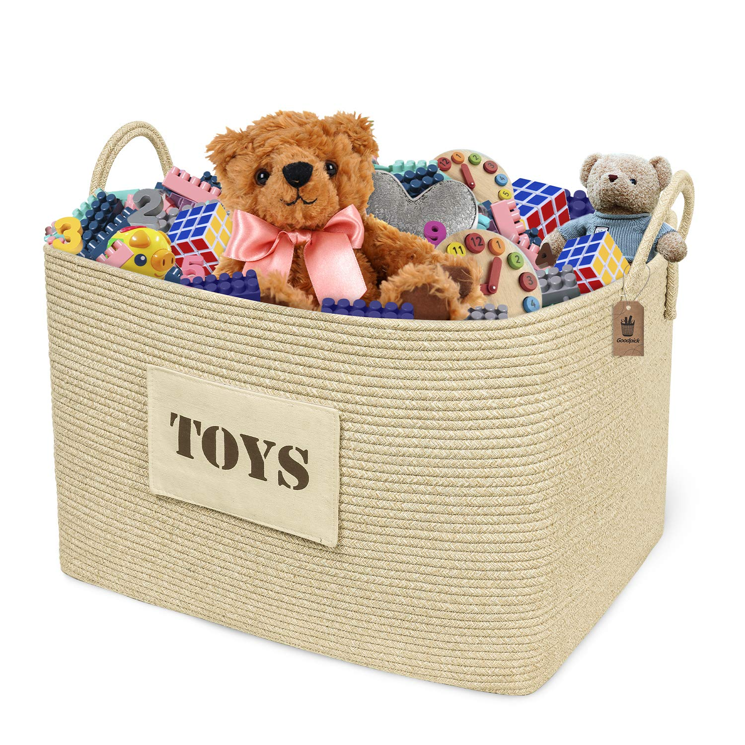 Goodpick Large Toy Storage Basket 22'' x 15'' x 14'' -Toy Chest Storage for Girls Decorative Clothes Hamper Basket for Living Room Woven Baby Laundry Basket for Blankets Cotton Rope Basket for Pillows
