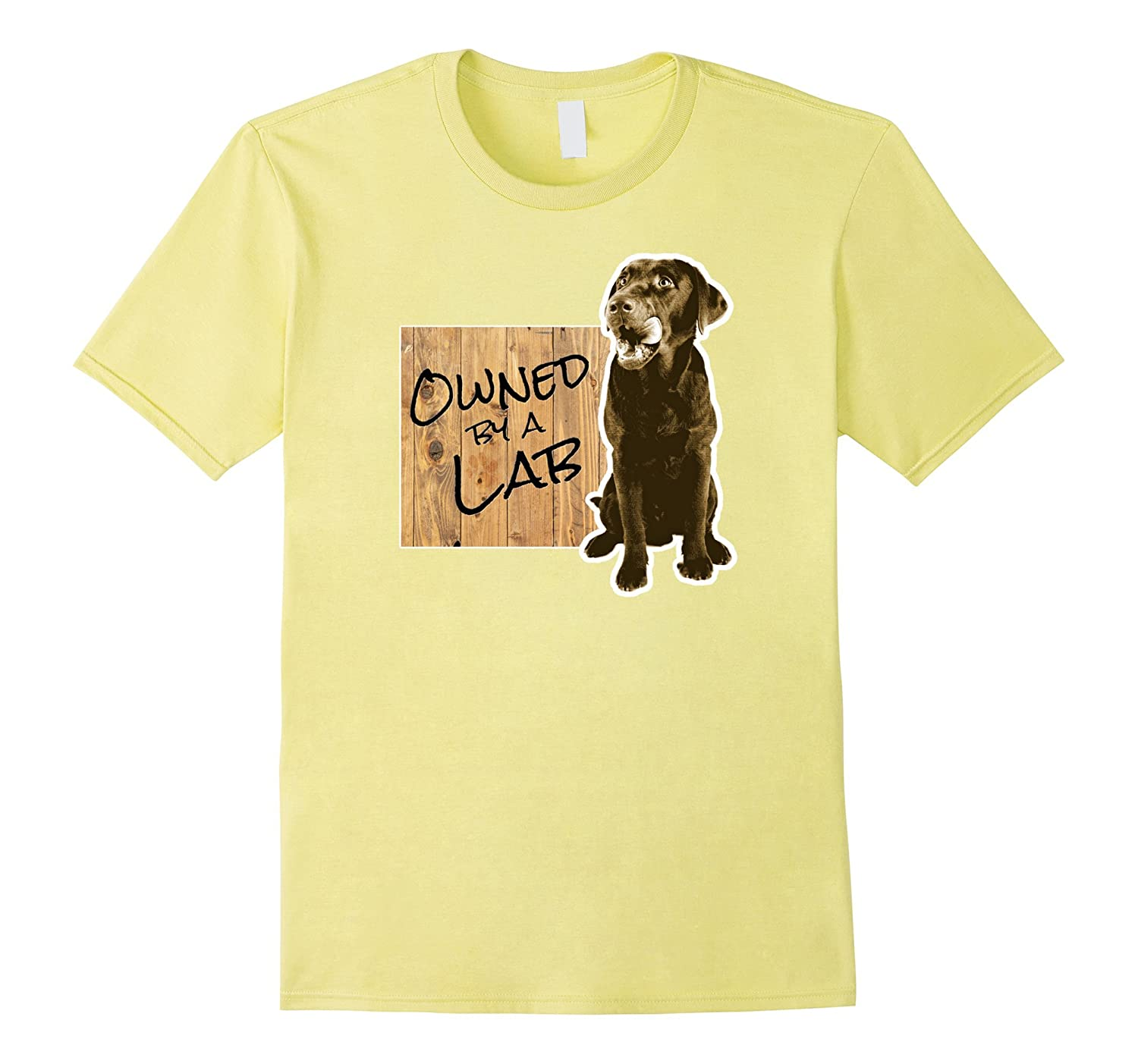 Owned by a Lab Labrador Dog Funny Gift T-Shirt-Vaci
