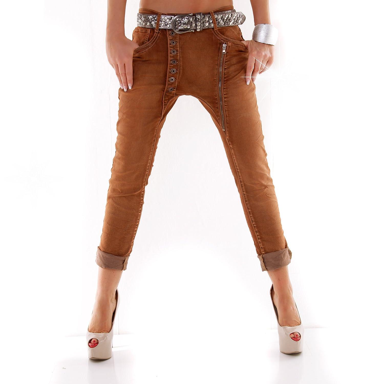 Damen Baggy Boyfriend Jeans schräge Knopfleiste Knöpfe Buttons Zipper Zipp:  Amazon.de: Bekleidung