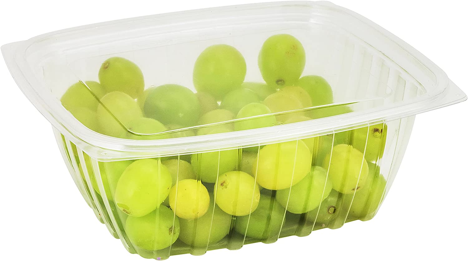 Dart C64DER, 64-Ounce ClearPac Clear Rectangular Plastic Container With Clear Flat Lid, Take Out Salad Deli Fruit Food Disposable Containers (50)