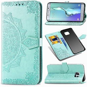 YYhin Cubierta para Funda Samsung Galaxy S6 Edge Plus / S6 Edge+, Funda de Cuero Mandala en Relieve, Funda de Billetera Premium, Funda con Tapa abatible -SD/Verde: Amazon.es: Electrónica