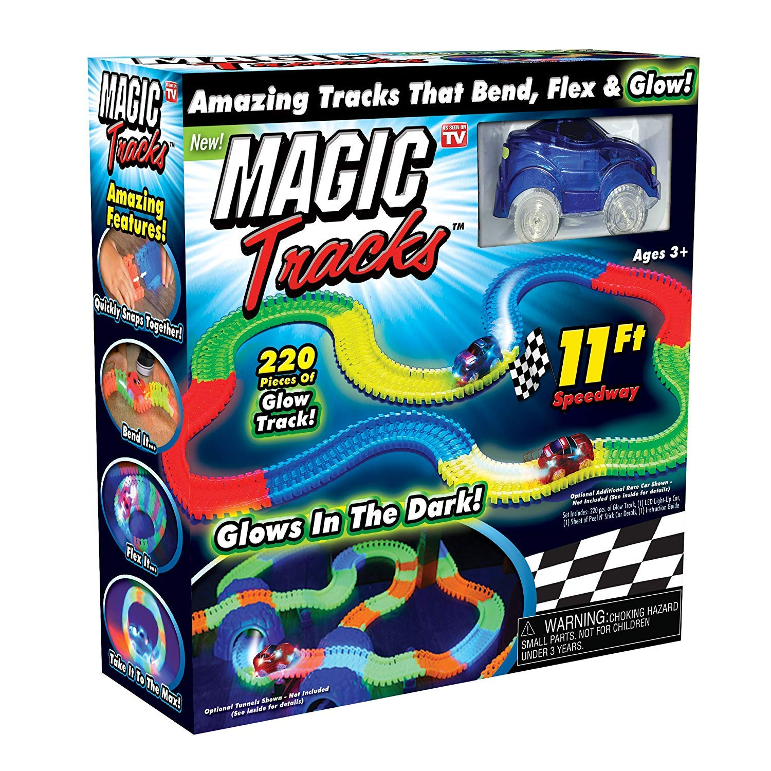 Toyshine Tracks Set Glow Race Car Set Toy Educational Twisted Flexible Tracks 165 Pcs with Electric Car Toys Kids