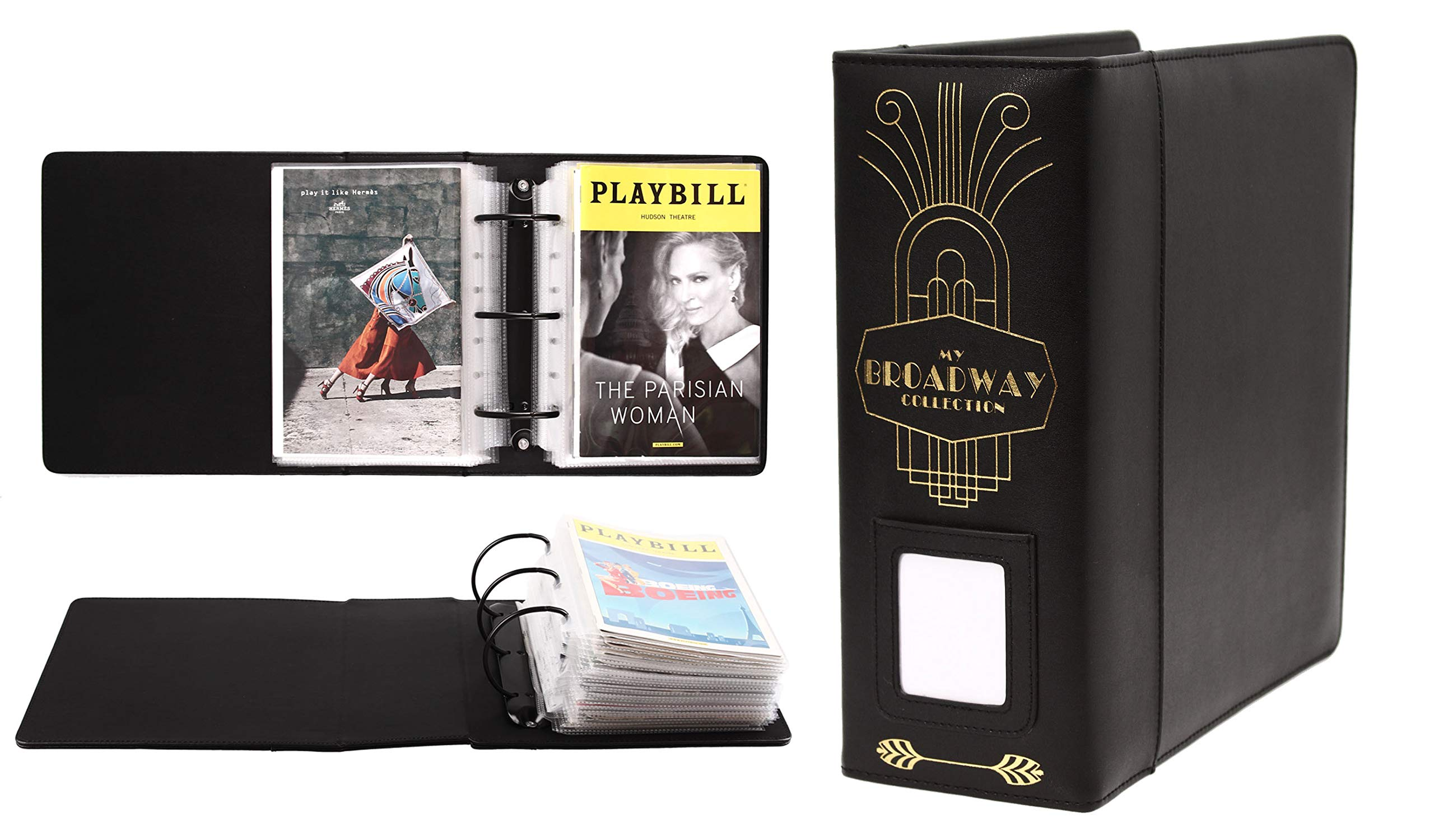 Broadway Play Program and Theater Playbill Binder with 30 Custom Sheet Protectors - PU Leather - Fits Playbills from Mid 1980s to Modern (Black/Gold Foil w/Window) by 2Fold Supply