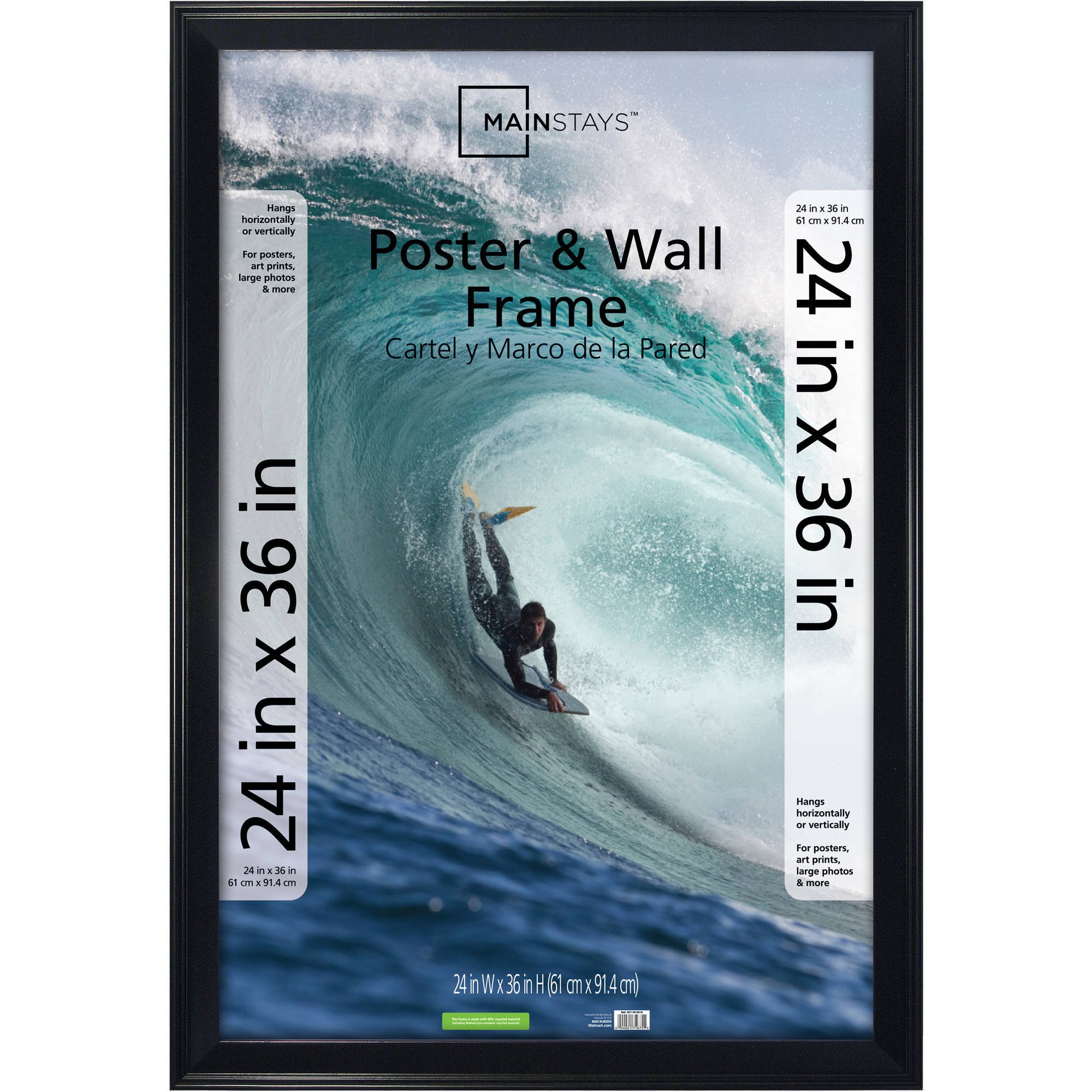 Classic Mainstays Decor 24x36 Casual Poster & Picture Frame, Black (4)