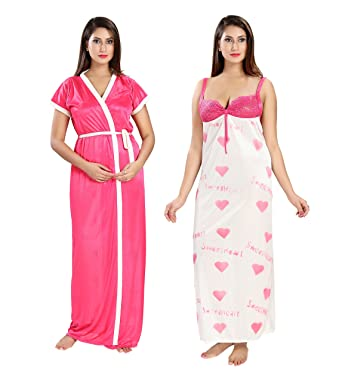 ade93b818 Shopping Station Women Nighty with Robe Regular fit_Free Size_ 2 pic Set
