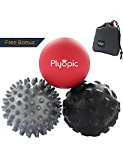Plyopic Massage Ball Set - Includes Rubber, Spiky and Foam Roller Massager Balls - 7cm | for Myofascial Release, Trigger Point Relief, Plantar Fasciitis Therapy. Eliminate Muscle Pain: Back Neck Foot