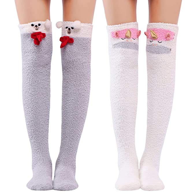 dba1dfd493b Littleforbig Cute Animal Coral Fleece Thigh High Long Socks 2 Pairs ...