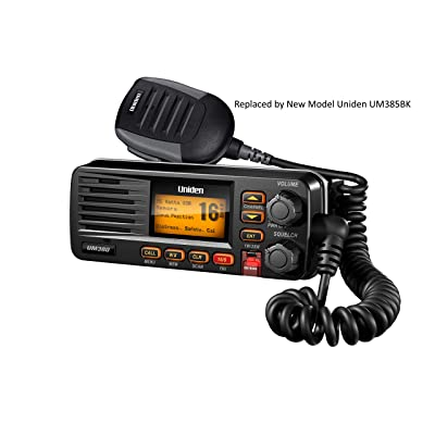 Uniden UM380 25 Watt Fixed Mount Marine VHF Radio, Class D, DSC, Waterproof Level IPX4/JIS4, S,A,M,E, Emergency/ NOAA Weather Alert (New replacement model, Replaced by Uniden UM385BK): GPS & Navigation