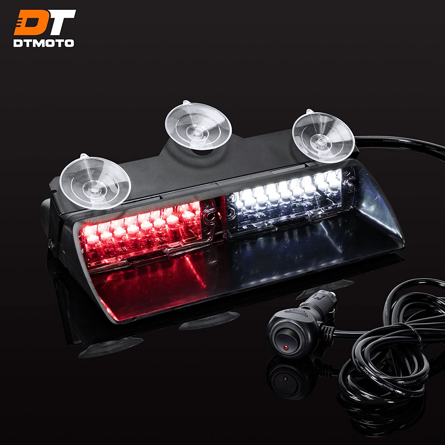 """9"""" 16W Red White LED Flashing Warning Strobe Dash Light for Volunteer Firefighter Vehicles - Interior Emergency Lights For Windshield w/Suction Cup"""