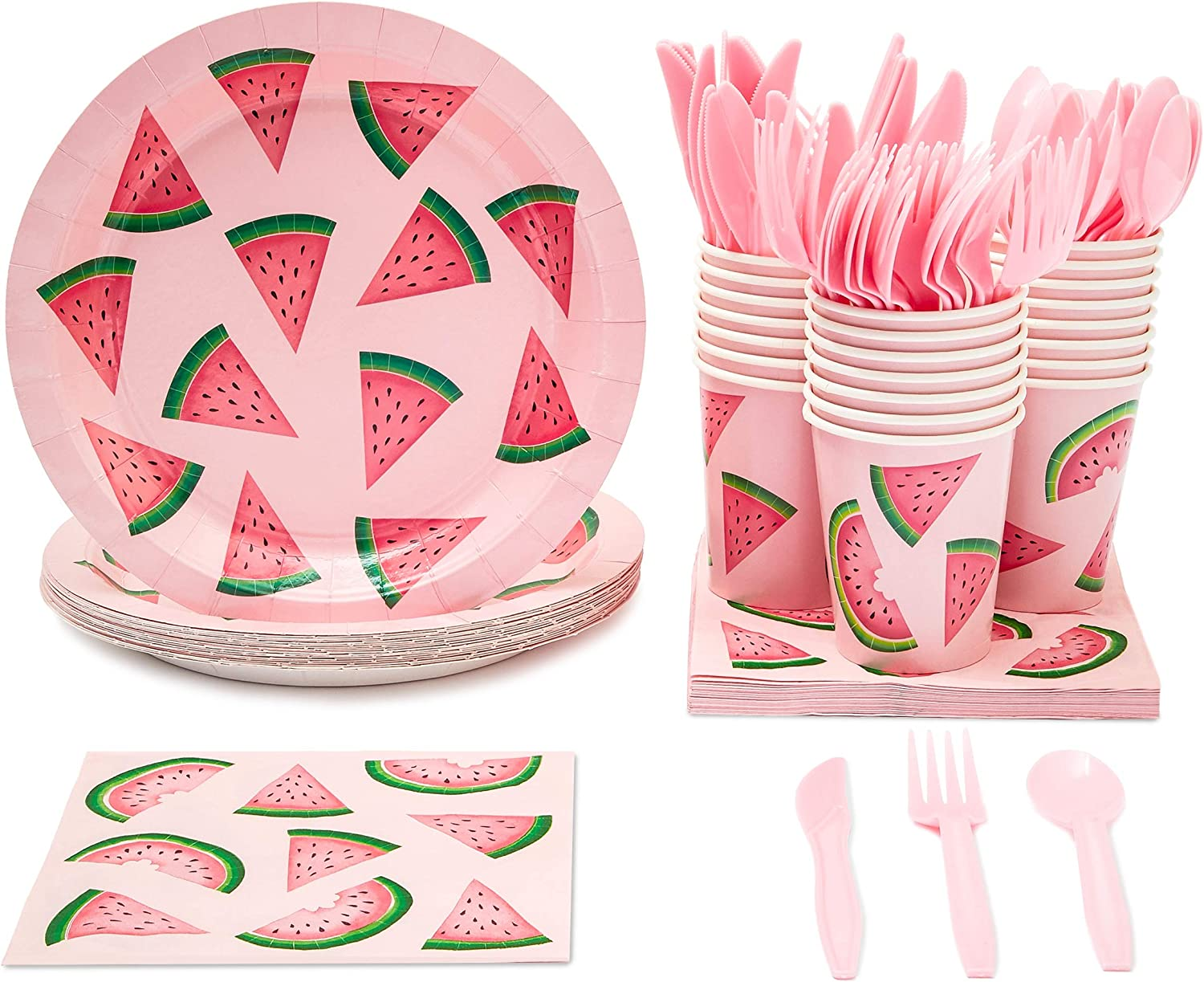 Watermelon Party Supplies, Paper Plates, Napkins, Cups and Plastic Cutlery (Serves 24, 144 Pieces)