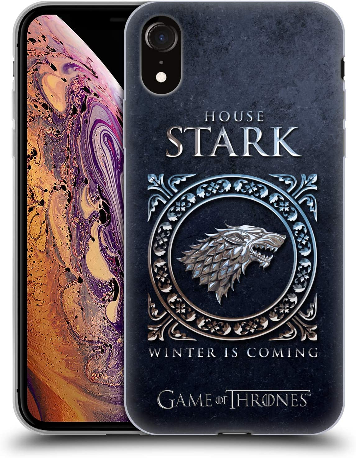 Head Case Designs Officially Licensed HBO Game of Thrones Stark Metallic Sigils Soft Gel Case Compatible with Apple iPhone XR