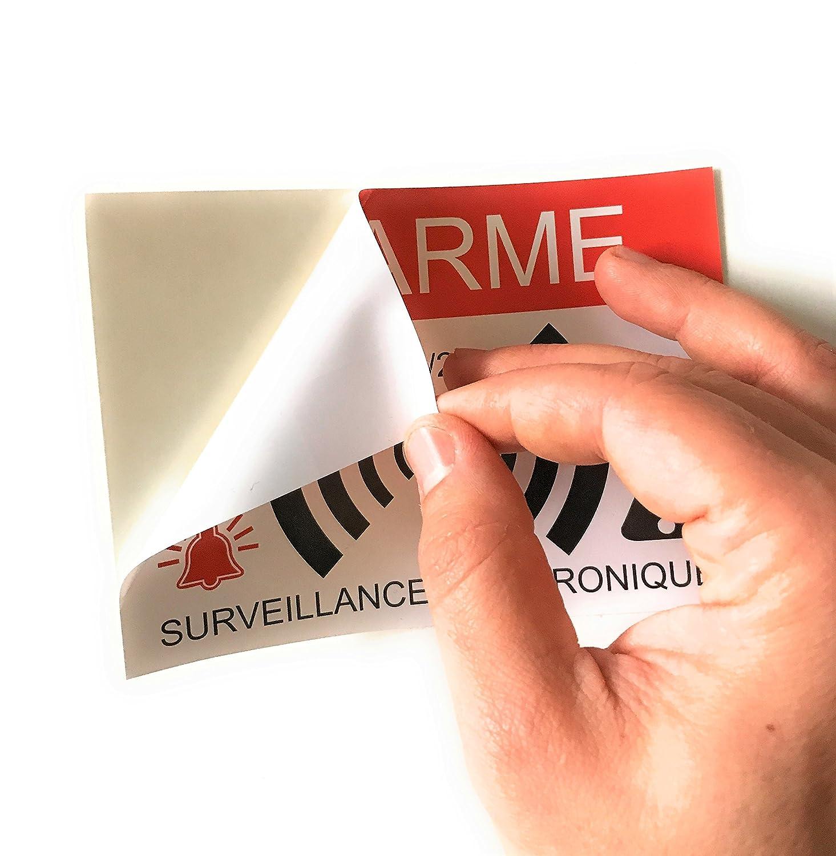 Autocollants dissuasifs Alarme Surveillance /électronique Lot DE 12 Dimensions 14,8 x 10,5 cm