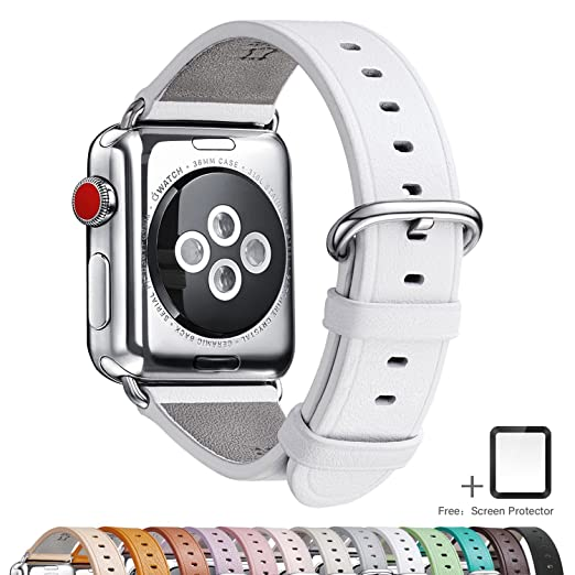 LOVLEOP for Apple Watch Band, Full Grain Leather Band Replacement Strap with Stainless Steel Clasp for iWatch Series 3,Series 2,Series 1,Sport, ...