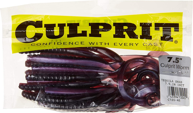 "Original Culprit Worm 7 1//2/"" 20 bag Black Culprit Worms C720-10 NEW C720-10"