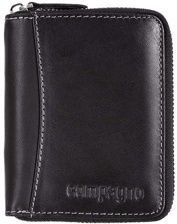 d23df0b70589ef Compagno Echt-Leder Geldbeutel mit umlaufendem Reißverschluss Herren  Portemonnaie Damen, Geldbeutel Farbe:Schwarz
