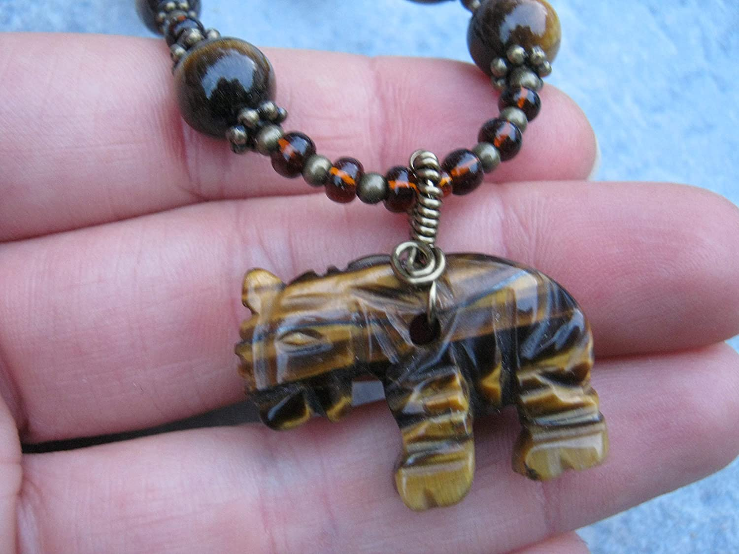 Hand Carved Tiger Bead Pendant