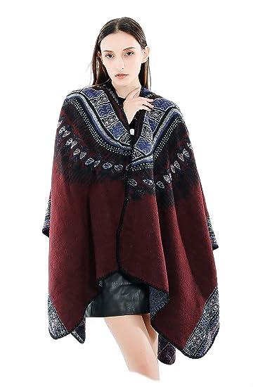7d728221544 Femme Fille Ethno Extra Large Très Épais Écharpe Wrap Châles Etole Ponchos   Amazon.fr  Vêtements et accessoires
