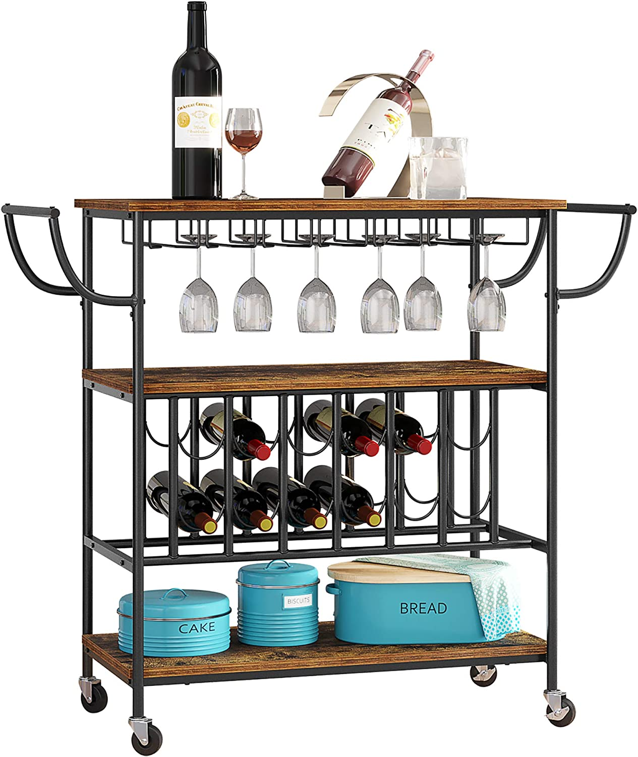 HOME BI Bar Carts for Home, Industrial Mobile Carts with Wine Rack and Glass Holder, Metal Wood Wine Cart on Wheels, Utility Kitchen Serving Cart with Storage 3 Shelves (Rustic Brown, S)