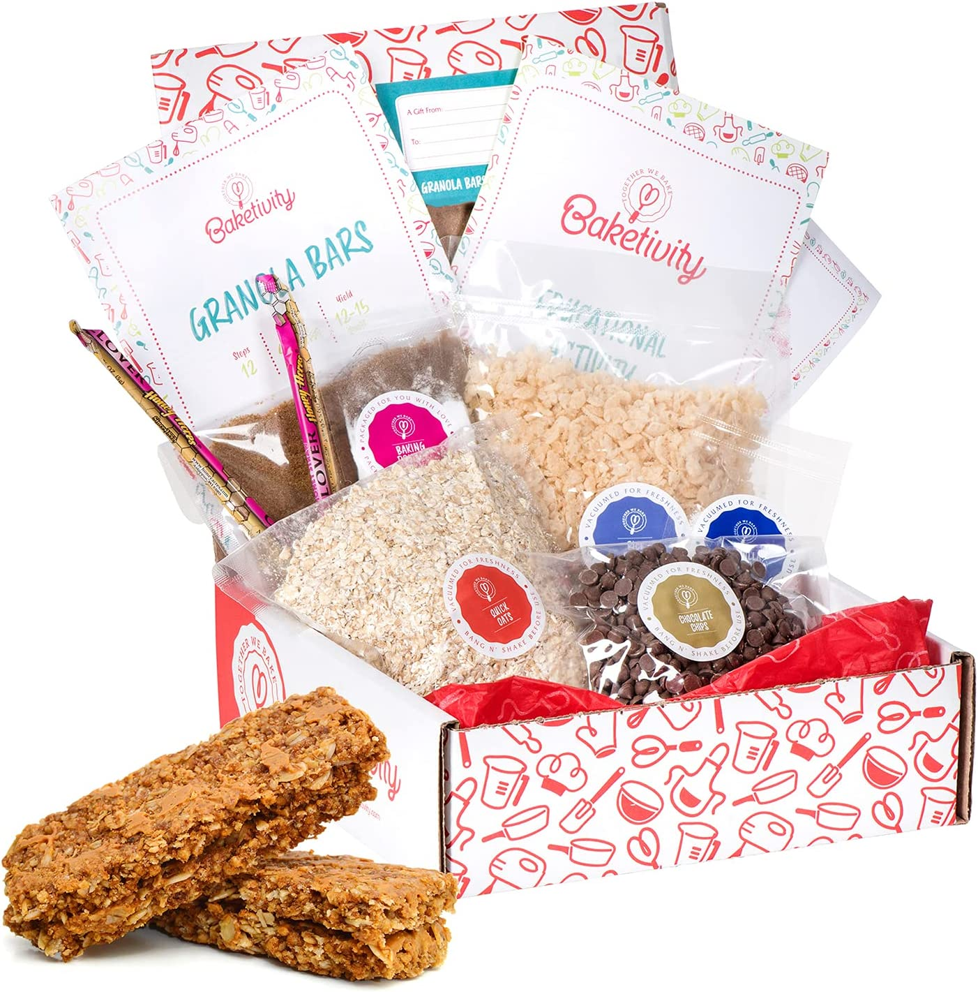 BAKETIVITY Kids Baking DIY Activity Kit - Bake Delicious Healthy Gluten Free Granola Bars with Pre-Measured Ingredients – Best Gift Idea for Boys and Girls Ages 6-12