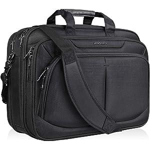 KROSERビジネスバッグ メンズ パソコンバッグ 15.6-17インチPCバッグ PCカバン 大容量17.1インチバッグ マチ拡張可能 斜め掛けバッグ ショルダーバッグ 大容量/出張/営業/ビジネス/通勤/通学/撥水 メンズ/レディース -ブラック