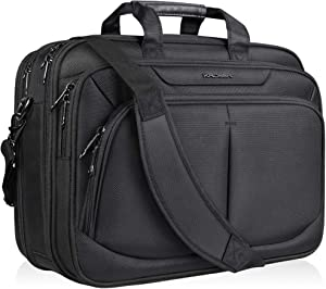 "KROSER 17.1"" Laptop Bag for 17"" Laptop Briefcase Water-Repellent Expandable Computer Bag Business Messenger Bag Shoulder Bag for School/Travel/Women/Men-Black"