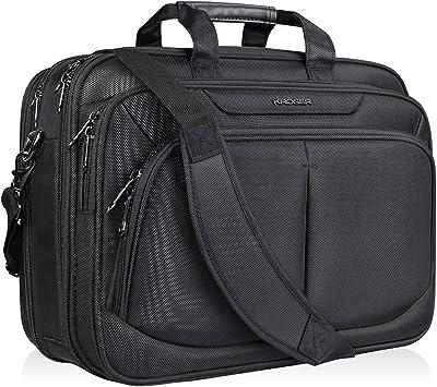 DONGLU Laptop Bag Mens Leather Business Briefcase Shoulder Bag Color : Black, Size : S