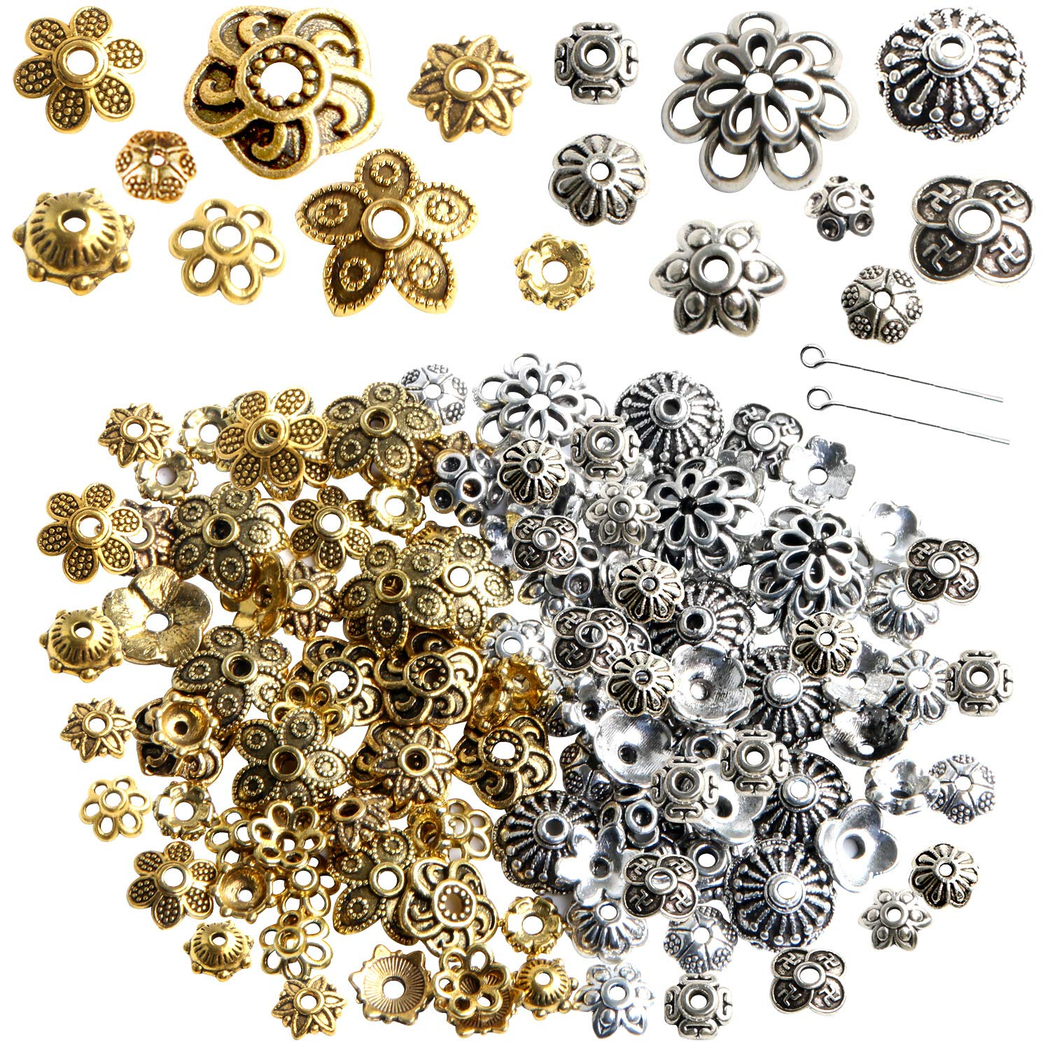 160Pcs Mixed Metal Bead Caps Spacer Flower Beads for DIY Jewelry Making Antique Gold Silver