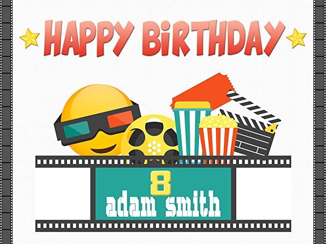 Custom Emoji Movie Theater Film Strip Birthday Poster For Kids