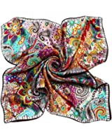 niceEshop(TM) Women Flower Mulberry Silk Square Scarves Bandana Scarf