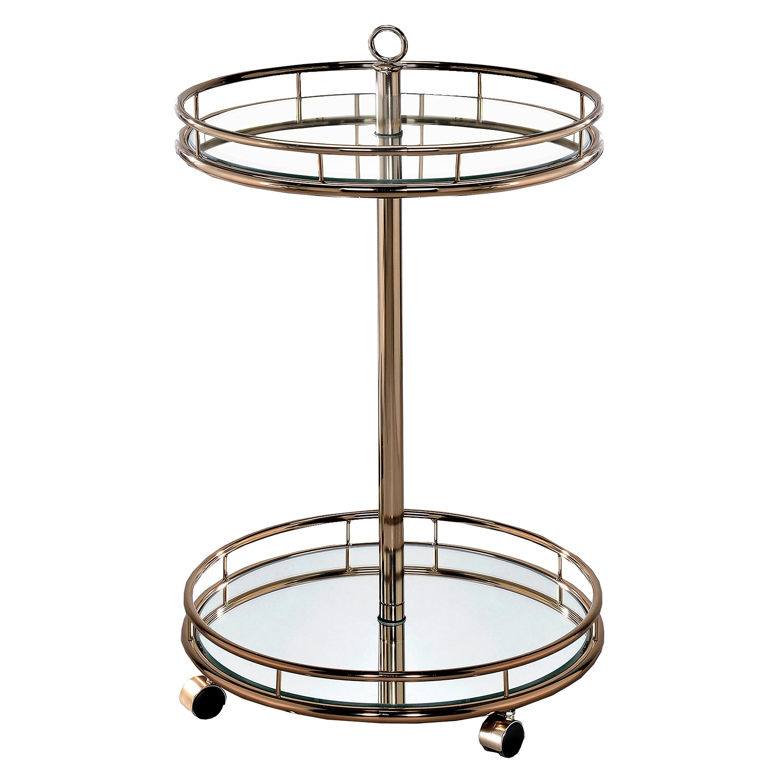HOMES: Inside + Out IDF-AC234 Dominga Serving Cart Champagne Contemporary