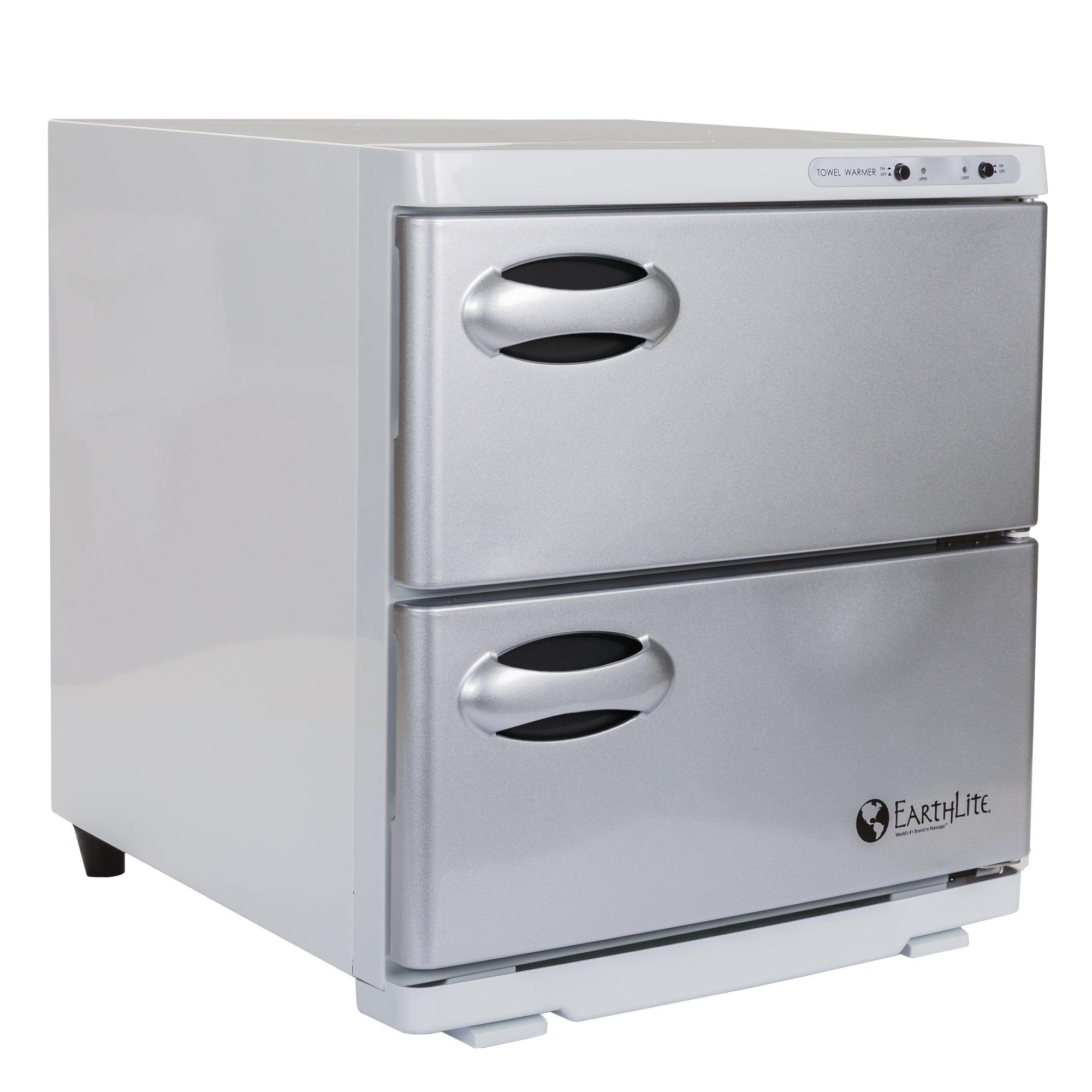 EARTHLITE Hot Towel Warmer Cabinet Dual – UV Sanitizing, UL Listed, Rust Proof Interior, Aluminum Door, Extra Hot, 1 Year Warranty (32L)